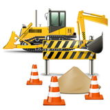 Vector Construction Machines with Barrier Royalty Free Stock Image