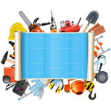 Vector Construction Scroll with Tools Stock Photography