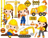 Vector Construction Set with Little Girls, Transport and Various Tools Royalty Free Stock Image