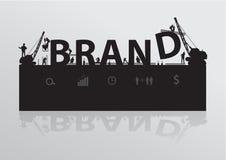 Vector construction site crane building brand text. Construction site crane building brand text idea concept, Vector illustration template design stock illustration