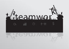 Vector construction site crane building teamwork t Royalty Free Stock Photography