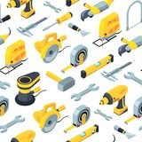 Vector construction tools isometric icons background or pattern illustration royalty free illustration