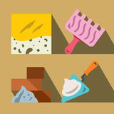 Vector Construction tools and materials. Flat style colorful Cartoon illustration. Tile, trowel, bricks and trowel.  on a color background Royalty Free Stock Image