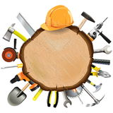 Vector Construction Wooden Board with Tools Royalty Free Stock Photos