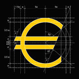 Vector constructioon illustration  euro symbol Royalty Free Stock Photos