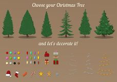 Vector Constructor of Christmas Tree. Decorations Template. Vector Generator of Christmas Tree. Variations of Pine-tree and Decorations Royalty Free Stock Photo