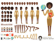 Vector constructor of female character. Afroamerican teacher pointing. Vector different body parts and elements set Stock Image