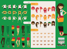 Vector constructor of rastafarian girl character. Spare body parts in various clothes, different emotions set, rasta dreadlocks of Royalty Free Stock Photos