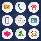 Vector contact and communication icons. Stock Photo