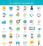 Vector contact us color flat icon set. Elegant style design. Stock Images