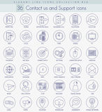 Vector contact us outline icon set. Elegant thin line style design Stock Photos