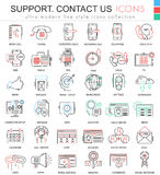 Vector contact us support modern color flat line outline icons for apps and web design. Stock Photos