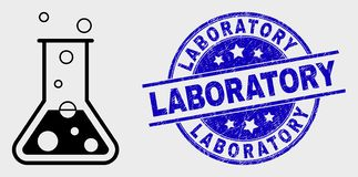 Vector Outline Chemical Retort Icon and Distress Laboratory Seal royalty free illustration