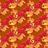 A pattern of a bouquet of autumn leaves. Vector contour color orange yellow red carved leaf tree element set pattern for your design autumn season corners frame vector illustration