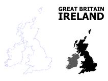 Vector Contour Dotted Map of Great Britain and Ireland with Caption stock illustration