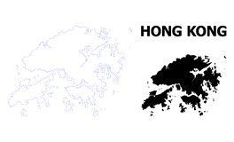 Vector Contour Dotted Map of Hong Kong with Caption stock illustration