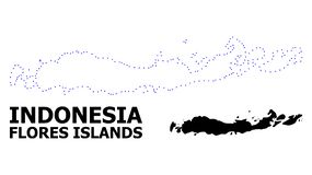 Vector Contour Dotted Map of Indonesia - Flores Islands with Caption stock illustration
