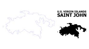 Vector Contour Dotted Map of Saint John Island with Name stock illustration