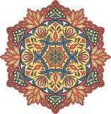 Vector contour Mandala ornament. Oriental round pattern. royalty free stock photography