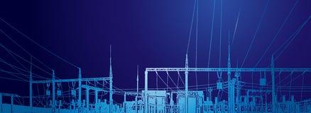 Vector contour silhouette. Substation, powerhouse. High-voltage line. Poles, cable. Vector contour silhouette. Substation, powerhouse. High-voltage line. Poles Stock Photo