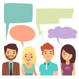 Vector conversation concept with people and blank thinking bubbles. Cartoon people conversation speech bubble, illustration of discussion people stock illustration