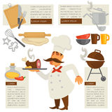 Vector cook and kitchen symbols. Stock Photo