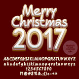 Vector cookie Merry Christmas 2017 greeting card. With set of letters, symbols and numbers. File contains graphic styles Stock Photo