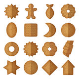 Vector cookies of different shapes. Star and vector illustration