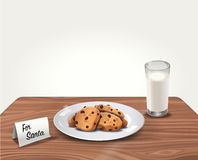 Vector Cookies and Milk for Santa Claus on Table stock illustration