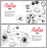 Vector cooking banner template with hand drawn objects on italia Royalty Free Stock Photos