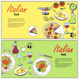 Vector cooking banner template with hand drawn objects on italian food theme Royalty Free Stock Photos