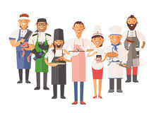 Vector cooking chefs people vector illustration Royalty Free Stock Photo