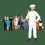 Vector cooking chefs vector illustration. Professions job man in uniform, Stock Photo
