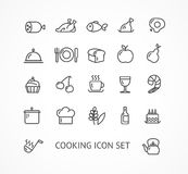 Vector cooking outline icon set Royalty Free Stock Photos