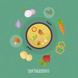 Vector cooking time illustration with flat icons. Fresh food and materials in flat style. Top view of healthy eating Stock Illustration