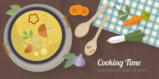 Vector cooking time illustration with flat icons. Fresh food and materials on kitchen table in flat style. Top view of healthy eating Vector Illustration