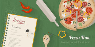 Vector cooking time illustration with flat icons. Fresh food and materials on kitchen table in flat style. Top view of healthy eating Royalty Free Illustration