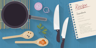Vector cooking time illustration with flat icons. Fresh food and materials on kitchen table in flat style. Royalty Free Stock Image