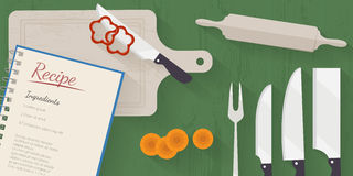 Vector cooking time illustration with flat icons. Fresh food and materials on kitchen table in flat style. Top view of healthy eating Stock Illustration
