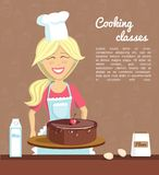 Vector cooking woman with delicious cake. Vector illustration with smiling woman baking chocolate cherry cake on dark background with doodle cupcakes. Poster and Royalty Free Stock Image