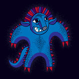 Vector cool cartoon angry monster, blue freak creature. Clipart Royalty Free Stock Image