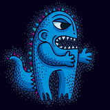 Vector cool cartoon angry monster, freak weird creature. Clipart Royalty Free Stock Image