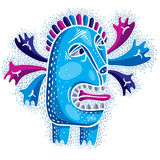 Vector cool cartoon crazy blue monster, simple weird creature. C Royalty Free Stock Image