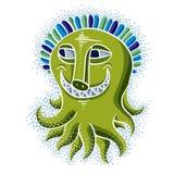 Vector cool cartoon crazy smiling green monster, weird creature. Stock Photography