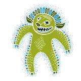 Vector cool cartoon monster, simple weird creature, green devil. Stock Photo
