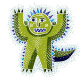 Vector cool cartoon scared green monster, simple weird creature. Royalty Free Stock Photos