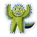Vector cool cartoon scared green monster, simple weird creature. Royalty Free Stock Photos