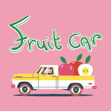 Vector cool colorful flat illustration. Retro car with big fruits Stock Photography