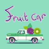 Vector cool colorful flat illustration. Retro car with big fruits Royalty Free Stock Images