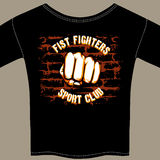Vector Cool Fight Club Shirt Template Design. Vector Nice Fight Club Template Design  with Fist Drawing at Center  on Black Shirt. Isolated on Brown Gray Stock Image
